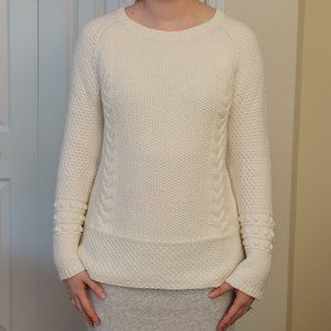 White Cable Knit Sweater from Ann Taylor